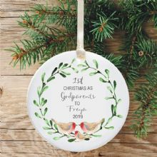 1st Christmas as an Godparents Ceramic Keepsake Decoration - Robins and Mistletoe Design
